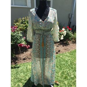 Boho button up dress NWT